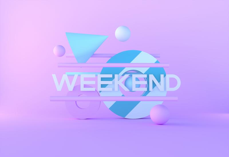 HAPPY WEEKEND typography typeart type giveaway free wallpaper 2019 hologram abstract surreal fantasy scifi art octane render octanerender octane c4d cinema4d
