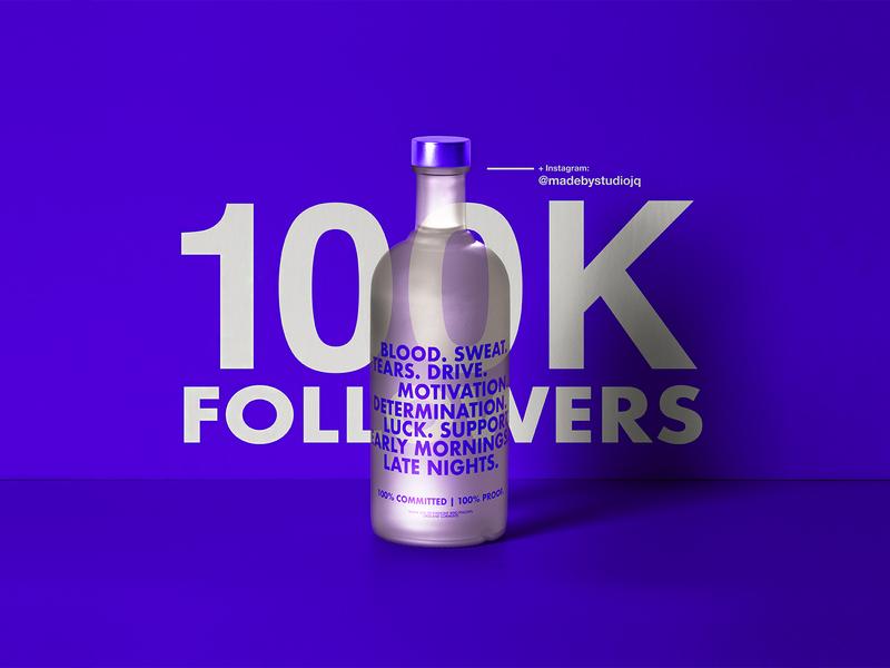 100K Instagram Followers studio freelance instagram 100k type c4d cinema4d thankyou ticket dribbble quintin studiojq