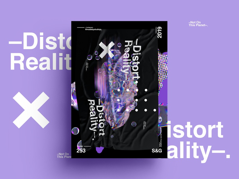 —Distort Reality. gradient minimal posterdesign retro art color vector texture swiss illustration poster type typography love cinema4d octane