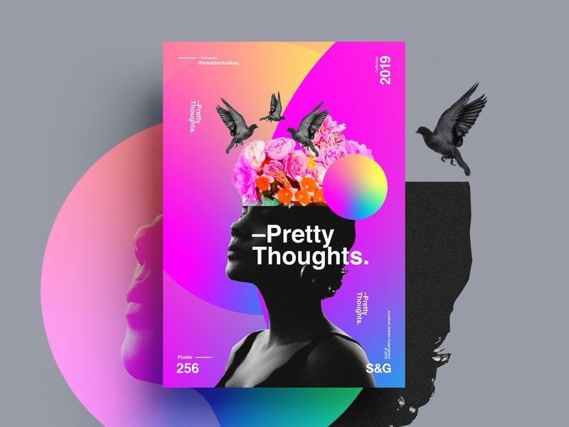 –Pretty Thoughts. collageart adobe photoshop collage gradient minimal posterdesign retro art color vector texture swiss illustration poster type typography love cinema4d