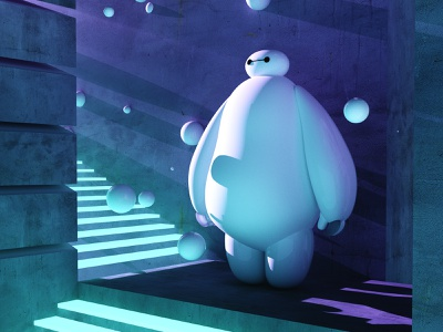 Everyone loves BAYMAX.❤️ baymax adobe photoshop collage gradient posterdesign retro art color vector texture swiss illustration poster type typography love cinema4d render octane