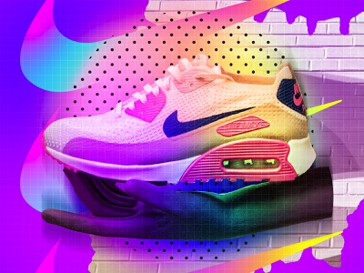 ♥Nike Me! collageart adobe photoshop collage gradient posterdesign retro art color vector texture swiss illustration poster type typography love nike trainers nike air max