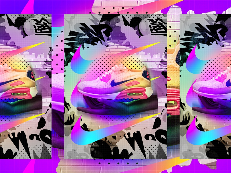 ♥Nike Me! nike air max trainers nike love typography type poster illustration swiss texture vector color art retro posterdesign gradient collage photoshop adobe collageart