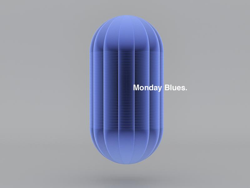 Monday Blues. layout helvetica motion adobe photoshop posterdesign art color vector texture illustration poster type typography cinema4d octane branding form shape blue