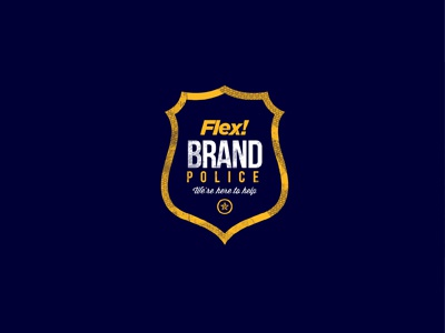 FLEX! Brand police campaign logo flex police yellow blue icons iconset campaign graphic design texture pattern