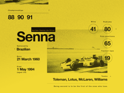 Senna. A legend. My Hero. legendary birthday legend senna infographic yellow stats motorsport layout texture
