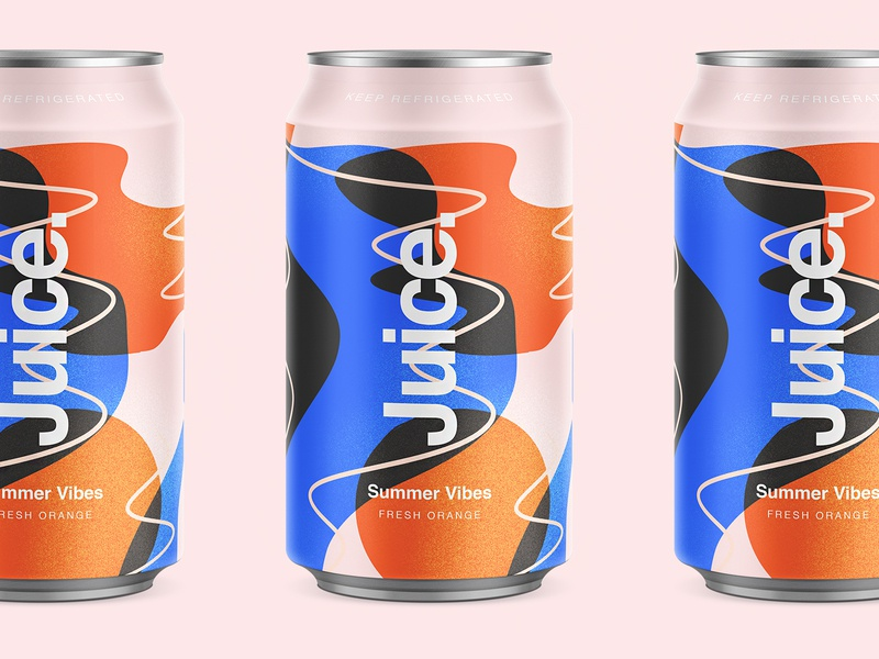 Juice. | Summer Vibes. orange package sketch illustration drinks can summer pattern cans logo packaging typography color branding
