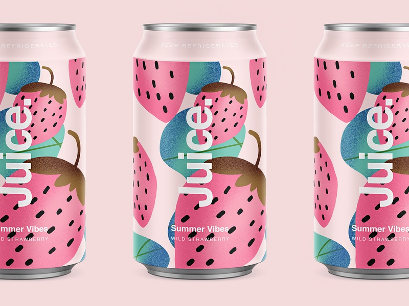 Juice. | Wild Strawberry. strawberry branding color typography packaging logo cans pattern summer can drinks illustration sketch package