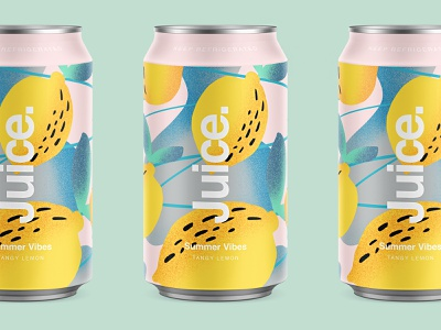 Juice. | Tangy Lemon. package sketch illustration drinks can summer pattern cans logo packaging typography color branding strawberry
