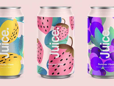 Juice. | Summer Vibes. package sketch illustration drinks can summer pattern cans logo packaging typography color branding purple blackberry