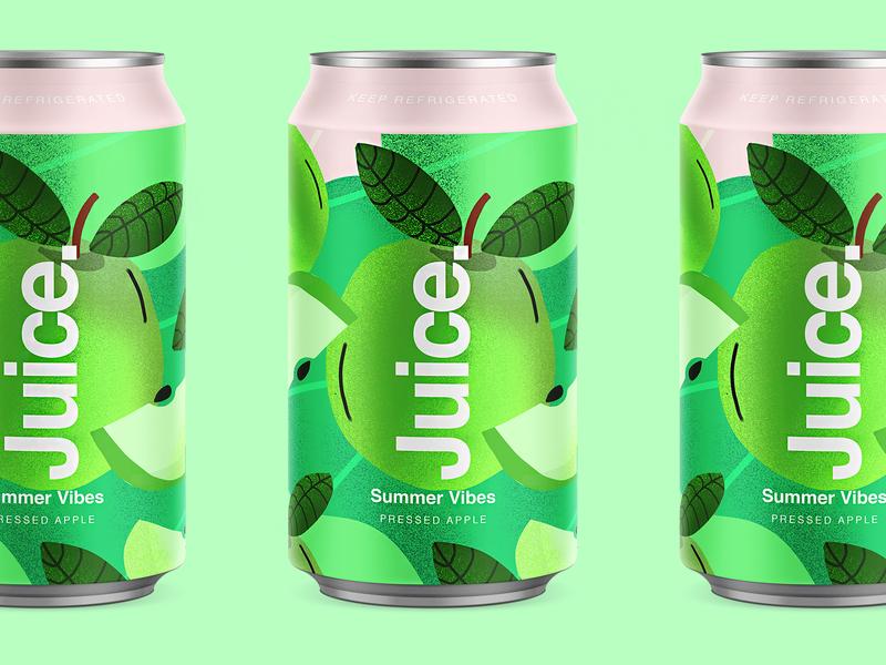 Juice. | Pressed Apple. apple branding color typography packaging logo cans pattern summer can drinks illustration sketch package fruit illustartor