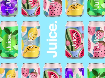 Juice. | Summer Vibes. candesign branding color typography packaging logo cans pattern summer can drinks illustration sketch package