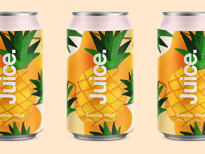 Juice.   Pineapple Crush. illustartor fruit package sketch illustration drinks can summer pattern cans logo packaging typography color branding apple