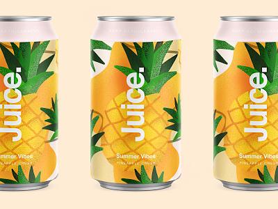 Juice. | Pineapple Crush. illustartor fruit package sketch illustration drinks can summer pattern cans logo packaging typography color branding apple