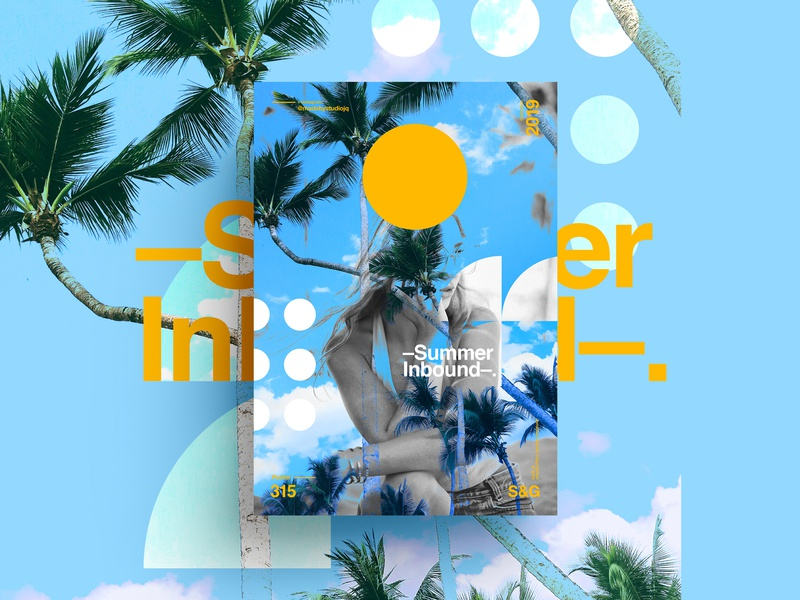 S&G.315.-Summer Inbound. ☀️ summer collageart adobe photoshop collage gradient posterdesign retro art color vector texture swiss illustration poster type typography love