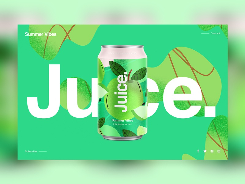 Juice. | Summer Vibes candesign branding color typography packaging logo cans pattern summer can drinks illustration sketch package ui web uidesign landingpage