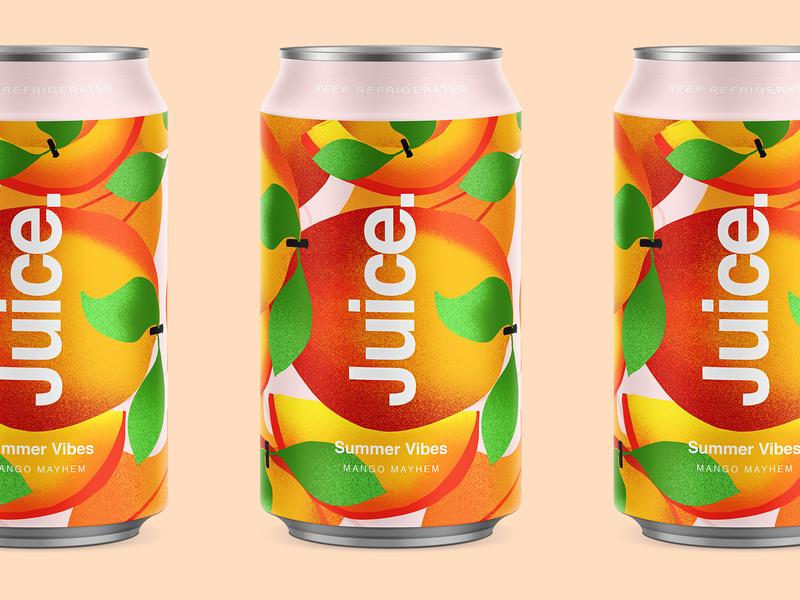Juice. | Mango Mayhem. mango branding color typography packaging logo cans pattern summer can drinks illustration sketch package fruit illustartor