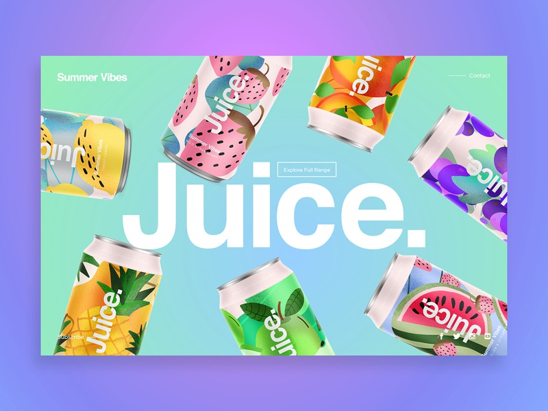 Juice. | Summer Vibes landingpage uidesign web ui package sketch illustration drinks can summer pattern cans logo packaging typography color branding candesign