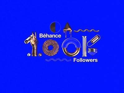 Behance | 100,000 Followers animation motion portfolio followers 100k render octane cinema4d studiojq quintin dribbble ticket thankyou blue behance c4d type