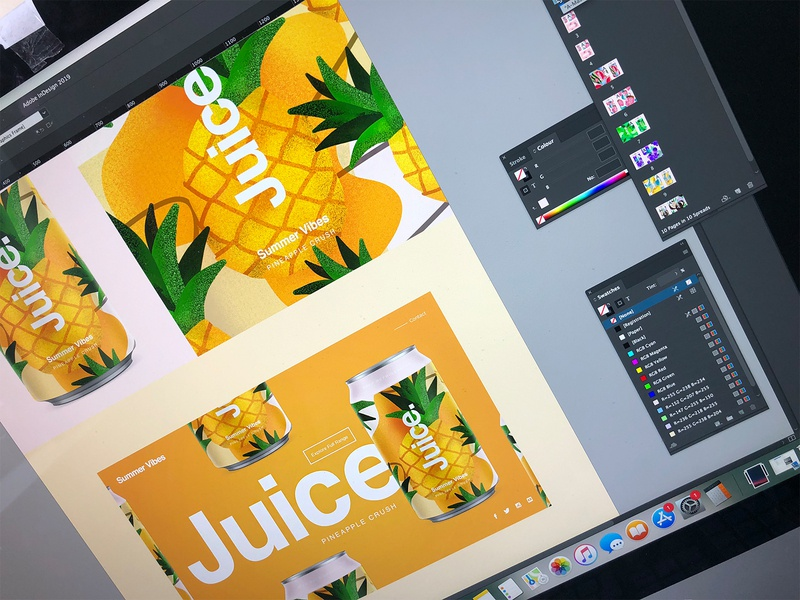 Juice.   Summer Vibes. landingpage uidesign web ui package sketch illustration drinks can summer pattern cans logo packaging typography color branding candesign