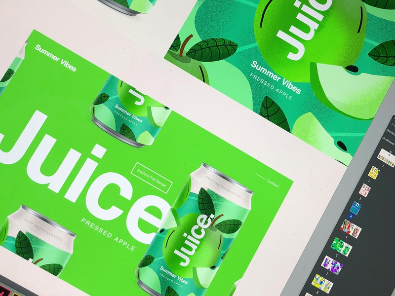 Juice. | Summer Vibes. apple candesign branding color typography packaging logo cans pattern summer can drinks illustration sketch package ui web uidesign landingpage