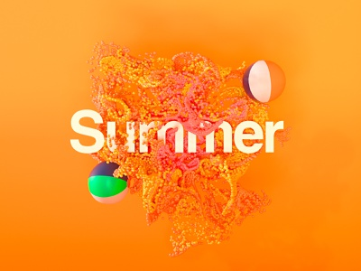 Summer Lovin' xparticles beach type summer motiondesign experiments octane render animation octane cinema4d adobe art texture poster artist motion c4d aep branding design