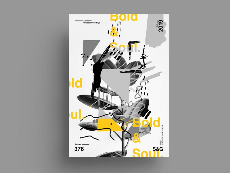 Bold&Soul. helvetica nature collageart adobe photoshop collage posterdesign retro art color vector swiss illustration poster type typography love gradient gradient design procreate