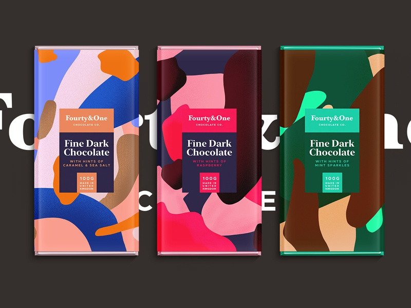 Fourty&One | Chocolate Co. branding color typography packaging logo pattern summer illustration sketch package landingpage chocolate chocolatebar foodie procreate logodesign