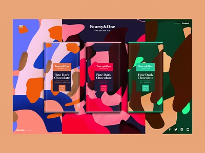 Fourty&One   Chocolate Co. web uidesign ui procreate foodie chocolatebar chocolate landingpage package sketch illustration summer pattern logo packaging typography color branding