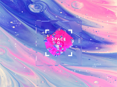 SPACE AGE   Pink Osyssey scifi spaceship motiondesign animated motion cinema4d octane branding type design gradient packaging logo logomark identity typography minimal spaceart cinema4dr20 r20