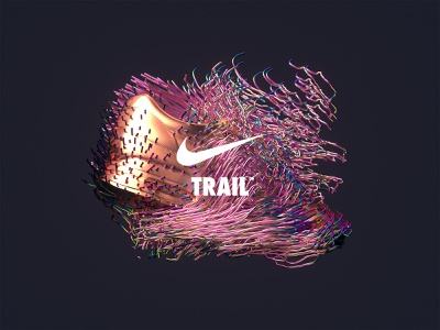 NikeLand | TRAIL™ xparticles airmax nike r20 cinema4dr20 minimal typography identity logomark packaging gradient design type branding octane cinema4d motion animated motiondesign