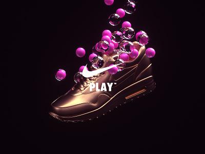 NikeLand   PLAY™ motiondesign animated motion cinema4d octane branding type gradient packaging logomark identity typography minimal cinema4dr20 r20 nike airmax xparticles justdoit