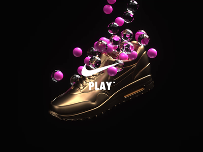 NikeLand | PLAY™ justdoit xparticles airmax nike r20 cinema4dr20 minimal typography identity logomark packaging gradient type branding octane cinema4d motion animated motiondesign