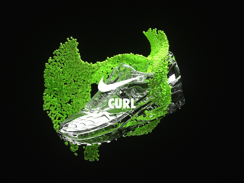 NikeLand | CURL™ justdoit xparticles airmax nike r20 cinema4dr20 minimal typography identity logomark packaging gradient type branding octane cinema4d motion animated motiondesign