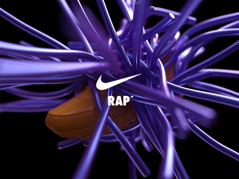 NikeLand | RAP™ justdoit xparticles airmax nike r20 cinema4dr20 minimal typography identity logomark packaging gradient type branding octane cinema4d motion animated motiondesign