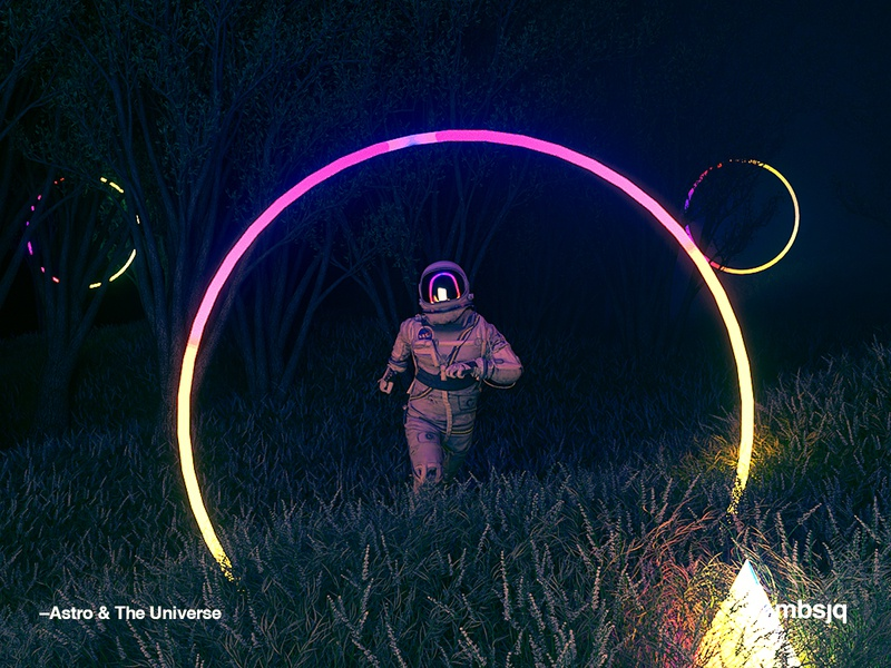 Through The Night gradient color spaceart spaceman c4dr21 colour abstract stilllife film interstellar animation motion scifi space octanerender octane c4d