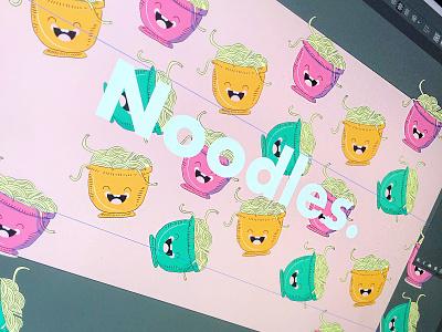 Noodles pattern foodie food packaging packagedesign illustration typography branding