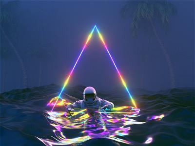 [Astro & The Universe]  The Bermuda Triangle gradient astronaut astro c4dr21 movie film interstellar animation motion scifi space octanerender octane c4d c4dr20