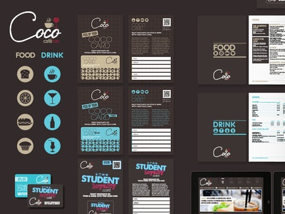 Coco Cafe & Bar branding deck branding icons iconset cafe brown bar bristol texture pattern invite design website ipad logo branding deck
