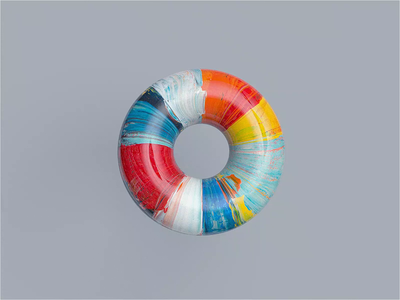 A Donut At The Museum abstract paint museum of art museum redshift c4dr21 movie film animation motion c4d