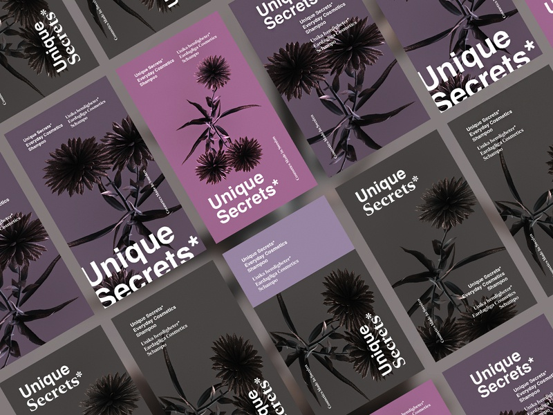 Unique Secrets* packaging design clean flowers redshift cinema4d beauty type cosmetic packagingdesign packaging