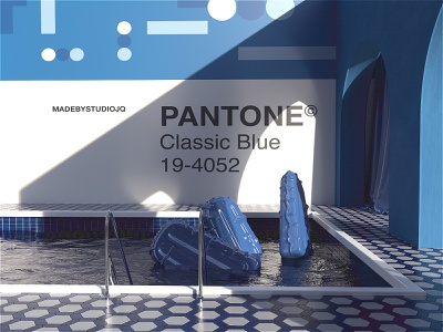 The Classic Blue   Chill-out Zone. typography color illustration blue chill surreal classicblue 2020 pantone c4dr21 film octanerender octane c4d c4dr20