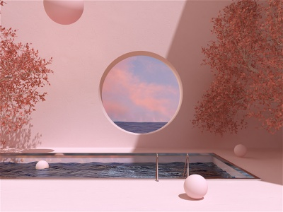 Distant Thoughts minimal ocean art octane cinema4d surreal art surrealism surreal