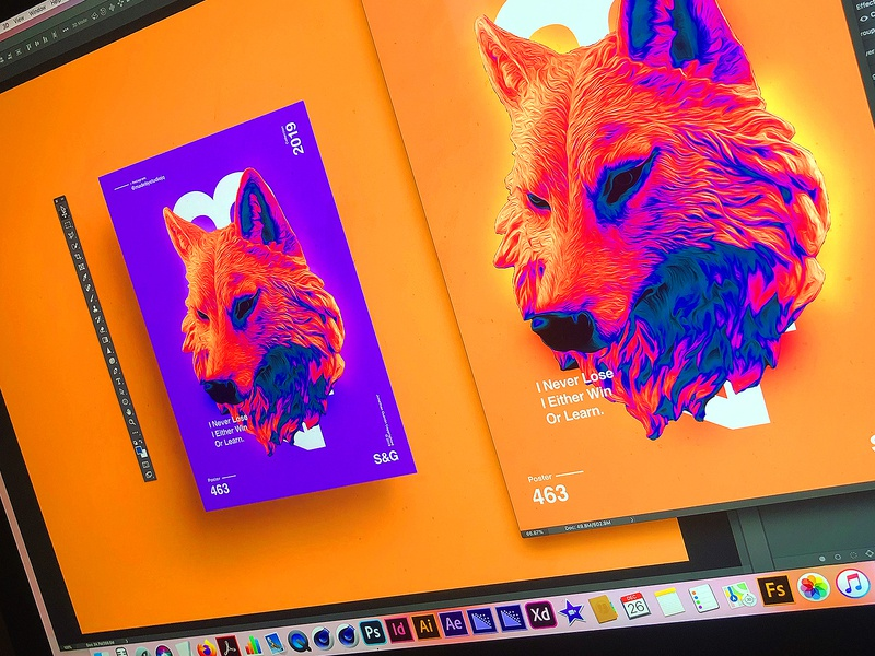 SNEAK PEEK | I Never Lose. I Either Win Or Learn. art poster art poster a day adobe gradient colour wolf illustration photoshop poster