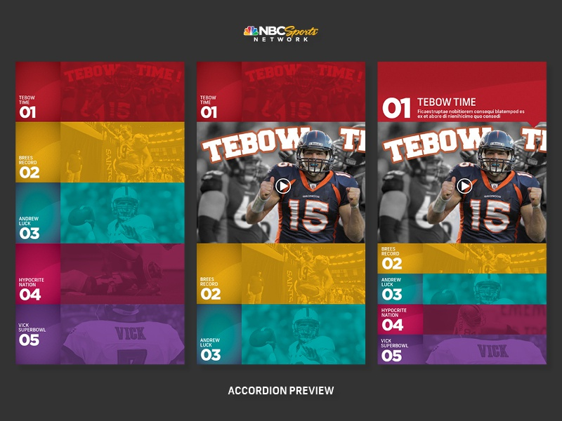 Accordion preview for NBC Sports Network 4 ipad ui ux nbc sports network tv sport grid texture interface branding usa new york accodion amercian football