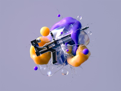 Bubble Gum Buster design poster illustration vector color 3d web digital art bubblegum octane cinema4d