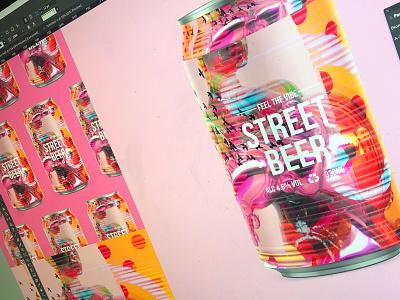 FEEL THE VIBE | STREET BEER procreate packagingdesign packaging beer art illustration typography type drink photoshop grunge art beercan beer