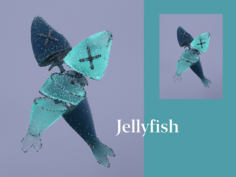 Jellyfish art poster typography illustration type surreal cinema4dart realism jellyfish jelly octane render cinema4d