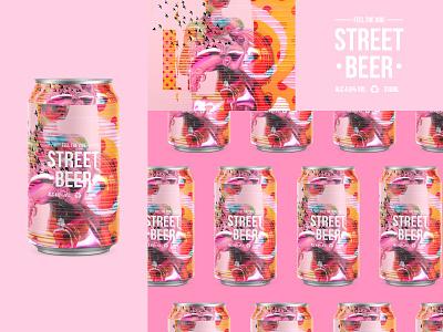 FEEL THE VIBE | STREET BEER typogaphy ui type web packagedesign pattern pink grunge poster art texture collage packaging beer can beercan beer