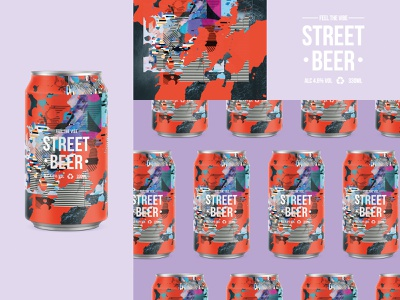 FEEL THE VIBE | STREET BEER photoshop pattern texture typeface logo beer branding collage digital graffiti art grunge type usa beer can beercan beer